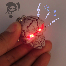 J226 Funny!! New Arrival LED Halloween Ghost Skull Head Action Figure Toys With Sound Keychains Kids Gifts Wholesale