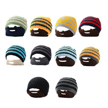 New Warmth Halloween Party Hats For Father New Year & Xmas Men Accessories Decor Handmade Stripe Beanies Caps Thick Winter Hat(China)