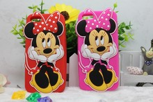 Cheapest 3D Cute Lovely Cartoon minnie mouse Silicone Soft Back Cover Phone Cases For iPhone 5 5G 5S