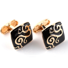 Gold Paint  Plant Pattern Decorative Black Enamel Cufflinks Jewelry Mens Chrismas Gift Business Cuff Links For Gentlemen