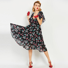 Sisjuly Women's Vintage Dress 1950s style Summer Deep V-Neck Sexy Female Vintage Dress Short Sleeve Cherry Print Women's Clothes(China)