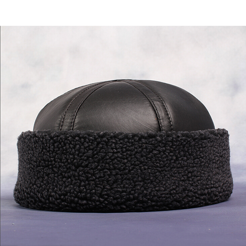 HL014 NEW mens Beanie Black Sheepskin Shearling Fur Hat Real Leather WarmОдежда и ак�е��уары<br><br><br>Aliexpress
