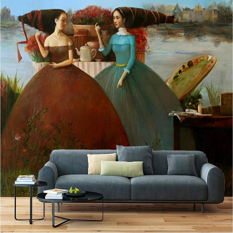 Custom HD Photo Wallpaper 3D Wall Murals Living Room Classical Oil Painting Beauty Wallpaper Seaside Figure Wall Murals European<br>