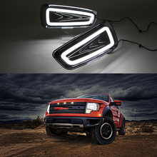 Car Flashing Car DRL LED Daytime Running Lights For Ford Raptor F150 2009 2010 2011 2012 2013 2014 Turn Signal Yellow Fog Lamp(China)