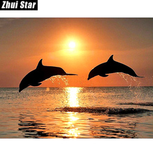 New 5D DIY Diamond Painting Dolphin Embroidery Full Square Diamond Cross Stitch Sunset Water Dolphin Rhinestone Mosaic Painting