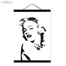 Modern Watercolor Marilyn Monroe Portrait Wooden Framed A4 Canvas Painting Living Room Deco Wall Art Print Picture Poster Hanger(China)