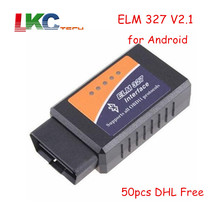 50pcs/lot DHL Free ELM327 Bluetooth OBD2 Scan Tool ELM327 Bluetooth OBDII V2.1 Car Diagnostic Tool obd 2 For Android(China)