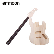 4-String Electric Bass DIY Kit Set JAZZ Bass Style Solid Basswood Body Maple Neck Rosewood Fingerboard