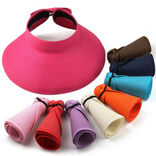 CN-RUBR Fashion Women Lady Foldable Roll Up Sun Beach Wide Brim Straw Visor Hat Cap Summer Hats Travel Beach Caps 13 Colors