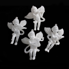 8cm 4PCS Angel Shaped Acrylic Wedding Decoration Diamond Embroidery Party And Event Deco Little Angel WIth Instrument