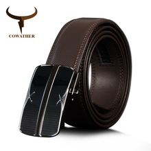 Buy COWATHER Male Strap Men Cow Genuine Leather Men Belt High Automatic Buckle Belts Black Brown Cowhide Leather Belts for $12.99 in AliExpress store