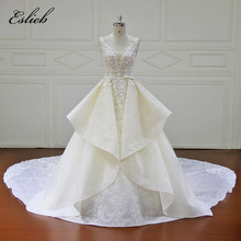 Elegant V Neck Exqusite Lace Appliques Bodice A Line Wedding Dress Sashes Bow Chapel Tail Special Skirt Design Bridal Gown(China)