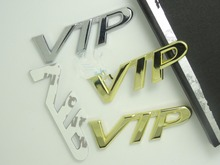free shipping 2pcs metal Car side emblem badge sticker VIP design color Silver/Gold for all car makers and SUV models