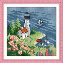 Needlework,DIY DMC Lighthouse (3) Cross stitch, Europe Style Pattern Innovation Items ,Wall Home Decro Hand Made Embroidery kits
