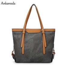 Ankareeda Luxury Brand Denim Bags Women's Handbags Leather Women Bag Vintage Shoulder Bags Canvas Large Tote Bag(China)