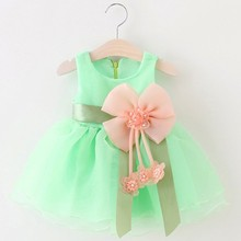 2016 Baby Girls Dress Big Bowknot Infant Party Dress For Toddler Girl First Brithday Baptism Clothes Double Formal Tutu Dresses