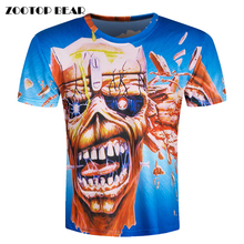 2016 Men Hip Hop Tshirt Men Camisa 3D T Shirt Skull Printed Extend Skate Short Sleeve Rock Male Tops Brand Clothing ZOOTOP BEAR