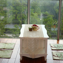 New Hot 40*200cm Elegant Full Lace Table Runner White Delicate Polyester Lace Table Towel Cloth Overlays for Wedding 012