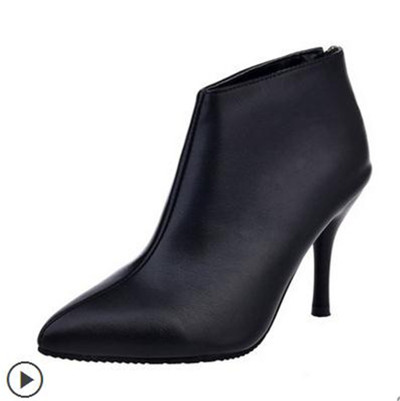 The new autumn and winter 2016 Martin pointed fine with high heels for womens shoes short boots boots sexy female boots<br><br>Aliexpress