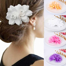 KISS WIFE new cloth flower hair clip water drill flower flower girl dance hair ornament bride wedding rose headdress(China)