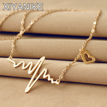 New Fashion Jewelry Imitation ECG Heart Necklace Clavicle Choker Pendant Necklace Maxi Necklace XY-N513
