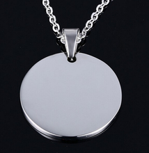 More Size Lot 10pcs in bulk stainless steel Round shape Tag Pendant Medal Necklace Both Polished Shiny no chain