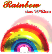 Happy birthday Rainbow foil balloon Party supplies Wedding decoration Giant helium inflatable size 95*62cm 100 pcs/lot wholesale(China)