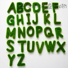 26 English letters(A-Z) Christmas Decoration Bonsai DIY LOGO Fake Flowers Artificial Moss Character Green Crafts(China)