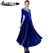VENFLON Spring Winter Dress Women 2019 Plus Size Casual Sexy Vintage Velvet  V-neck Ball Gown Elegant Long Party Dresses vestidos 7e841faf0b24
