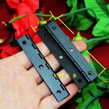 75*24 20pcs black hinges Antique Hinge Metal Printing Small Wooden Gift Box 6 Holes hardware accessories wholesale