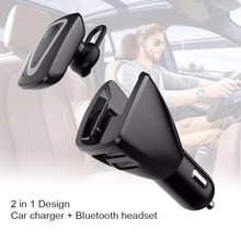 Original Bluetooth Wireless Earphone Car Charger Business Dual USB Dock Headset with Mic Noise canceling Phone Charger 2 in 1(China)