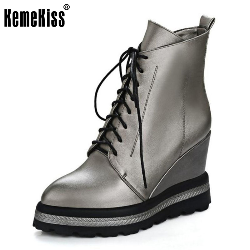 KemeKiss Size 33-42 Women Thick Platform  Wedges Ankle Winter Boots For Women Cross Strap Warm Fur Inside Ankle Warm Botas<br>