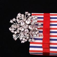 2016 Fashion Metal Flower Shaped Clear Rhinestone Crystal Napkin Rings for Wedding Silver Plated Table Napkins Holders(China)