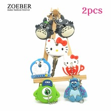 ZOEBER 2PCS a set cute Anime Cartoon Key chain Silicone key cover cap women hello kitty minions Totoro monster Ring car Keychain