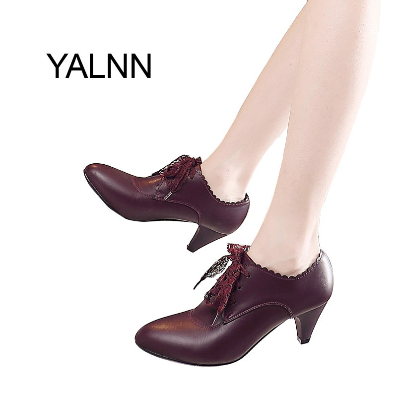 YALNN High Heels Shoes Fur Boots for Girls Women Wine-Red/Black Leather Shoes for Women Winter Office Lady Mature Boots <br>