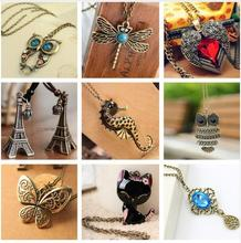 xl001 2017 Vintage Birds Vintage Heart Feather Owl Butterfly Pendant Feather Cat Pendant Necklace One Way Necklace