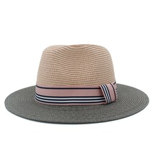 2017 new Fashion ladies sun hat for women straw beach hat with brim wide for Elegant Lady and pink Panama hat