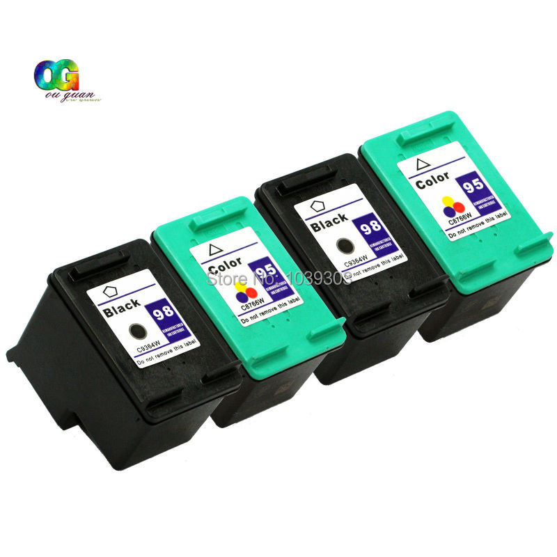 4 Pack 98 95 Ink Cartridge Compatible For HP HP95 HP98 Deskjet D4145 D4155 D4160 Combo Set<br>