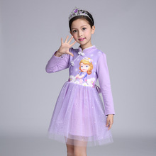 2017 New Cheongsam Girl Dress Summer Brand Toddler Girls Clothes Lace Sequins Prilloweencess Sofia Anna Elsa Dress Snow Queen Ha
