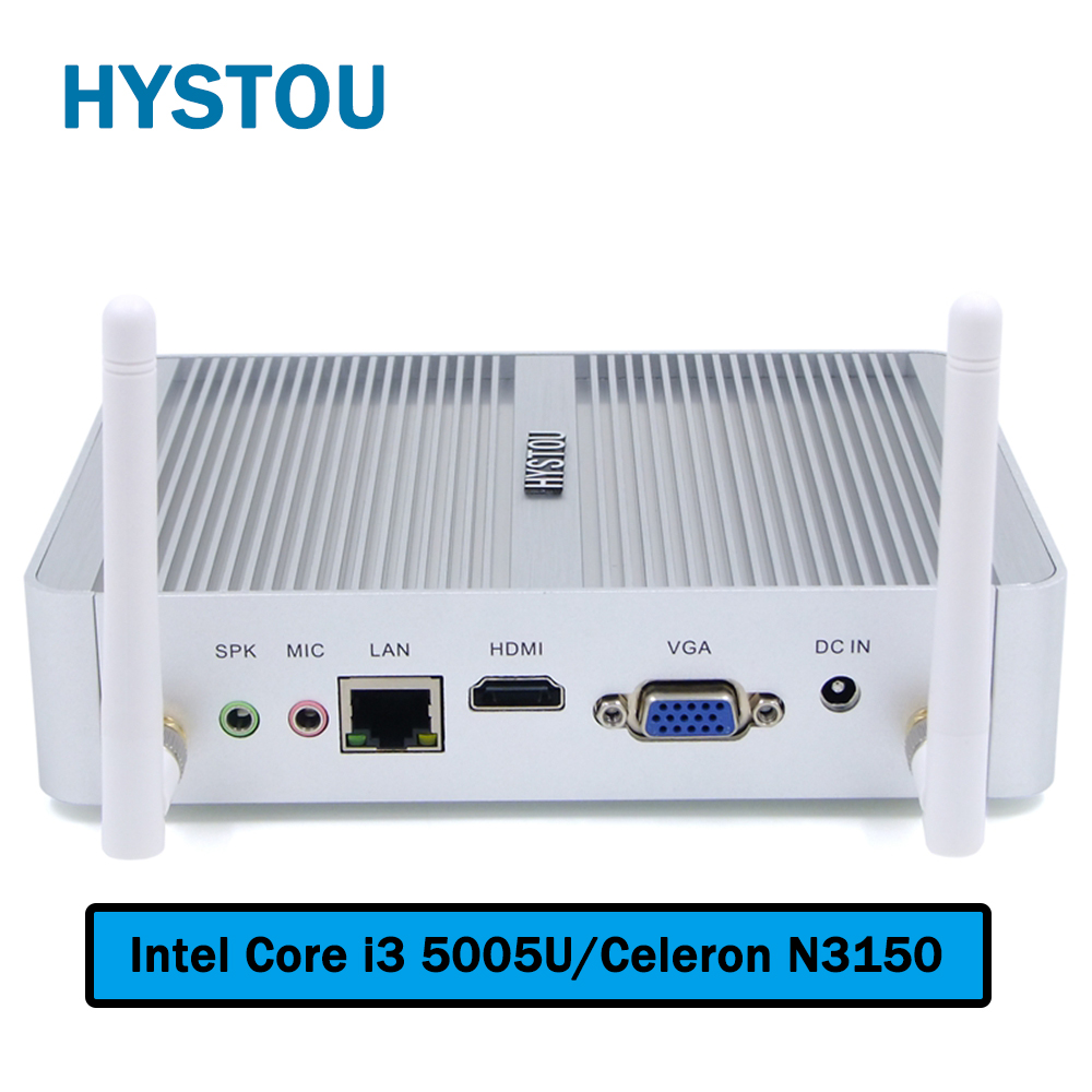Fanless Mini PC Windows 10 Nano Station PC i3 5005u Barebone System Nuc Mini HDMI Computer Core i3 HTPC Kodi Linux Computer Mini(China)