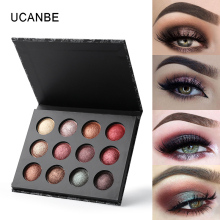 UCANBE 12 Color Baked Eyeshadow Shimmer Metallic Eye Shadow Makeup Palette Glitter High Pigment