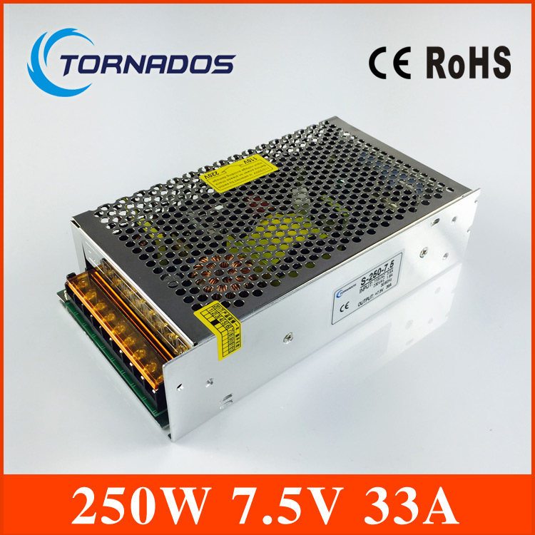 free shipping 250W 7.5V 33A wholesale aluminum shell low voltage Switching Power Supply for LED Lighting application S-250-7.5<br>