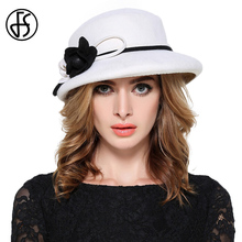 Women Fall Winter White Wool Felt Floppy Fedora Hat British England Style For Women Jazz Hats Wine Red Flowers Church Hats