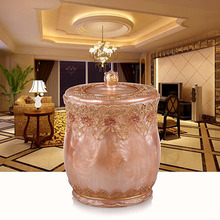 Creative household trash foot living room European-style luxury bathroom trash without cover retro resin barrels Storage(China)