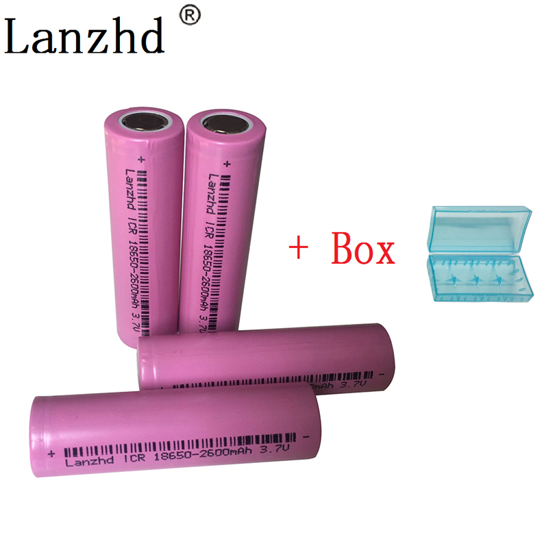 4pcs/lot 18650 betteries rechargeable Battery for LED Flashlight 100% Original 18650 ICR18650-26H 2600mAh Li-ion 3.7v Battery(China)