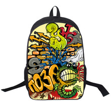 2018 New Women Bags ghost Cartoon graffiti prints Backpack Students School Bag For Girls Boys Rucksack mochila Private custom(China)