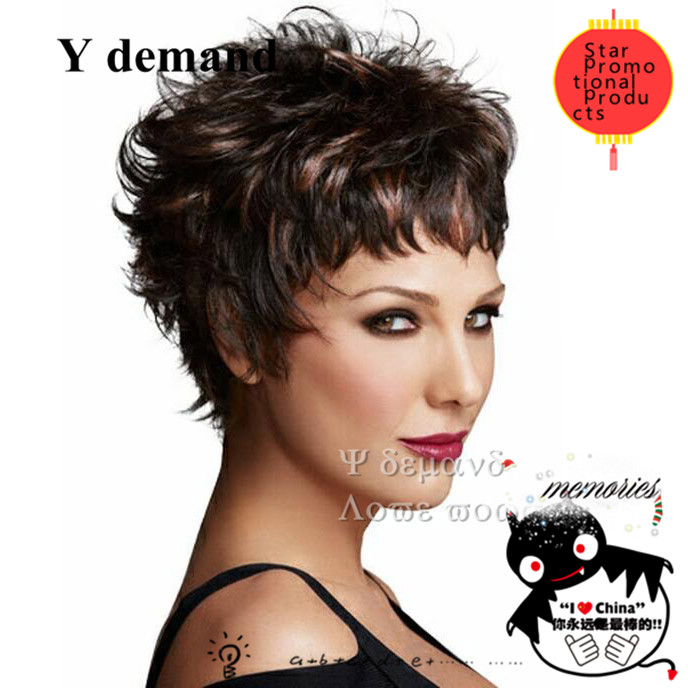 Short curly haircuts Pixie cut wavy brown hair highlights african american Cheap None Synthetic lace Full wigs<br><br>Aliexpress
