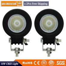 "2"" Inch Pair of 10W Spot Beam 12V LED Light Offroad Round Work Lamp For Truck Tractor Car 4WD ATV 4X4 Bike Motor led work light"