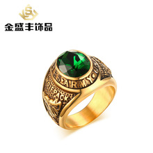 Men's Restore ancient Titanium steel stone army golden ring high-end rhinestones Army rings for male wholesale RC-306