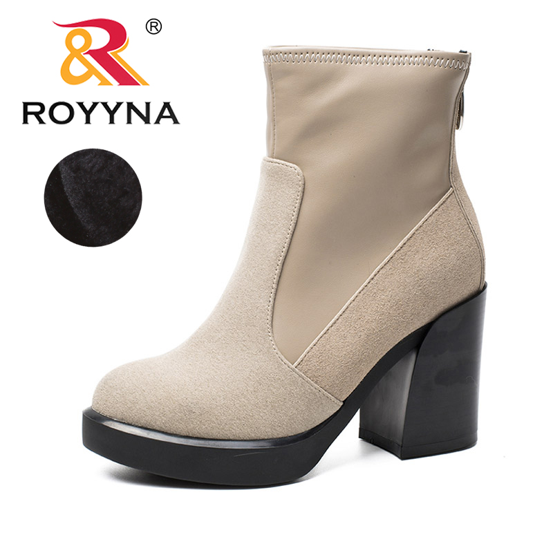 ROYYNA 2017 New Style Women Boots High Heels Platform Ladies Shoes Light Soft Out Soles Female Ankle Boots Fast Free Shipping<br>